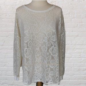 Free People Sweater White Lace Long Sleeve M